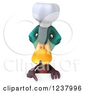 Clipart Of A 3d Mallard Duck Chef Pointing Down To A Sign Royalty Free Illustration