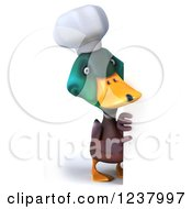 Clipart Of A 3d Mallard Duck Chef Pointing Around A Sign Royalty Free Illustration
