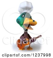 Clipart Of A 3d Mallard Duck Chef Playing A Guitar 2 Royalty Free Illustration
