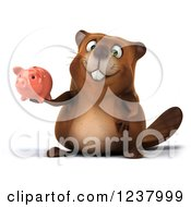 Clipart Of A 3d Happy Beaver Holding A Piggy Bank Royalty Free Illustration
