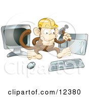 Poster, Art Print Of Cute Monkey In A Hardhat Working On A Computer To Construct A Website