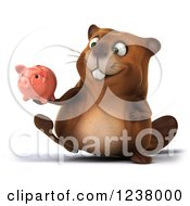 Clipart Of A 3d Happy Beaver Walking With A Piggy Bank Royalty Free Illustration