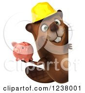 Clipart Of A 3d Construction Beaver Holding A Piggy Bank Around A Sign Royalty Free Illustration