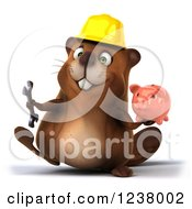 Clipart Of A 3d Construction Beaver Walking With A Piggy Bank Royalty Free Illustration