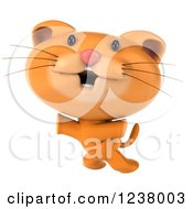 Clipart Of A 3d Happy Ginger Cat Jumping Royalty Free Illustration