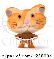 Clipart Of A 3d Ginger Cat Reading A Book Royalty Free Illustration