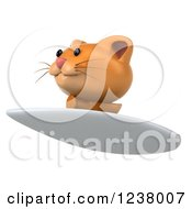 Clipart Of A 3d Ginger Cat Surfing 3 Royalty Free Illustration