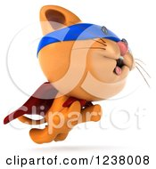 Clipart Of A 3d Super Hero Ginger Cat Leaping Royalty Free Illustration