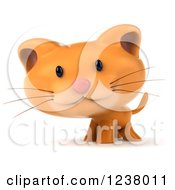 Clipart Of A 3d Cute Happy Ginger Cat Royalty Free Illustration