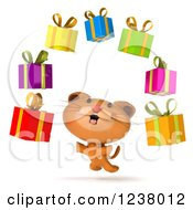 Clipart Of A 3d Ginger Cat And Floating Gifts Royalty Free Illustration