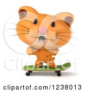 Clipart Of A 3d Ginger Cat Skateboarding 4 Royalty Free Illustration