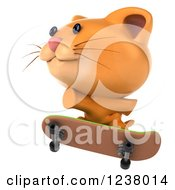 Clipart Of A 3d Ginger Cat Skateboarding 3 Royalty Free Illustration