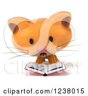 Clipart Of A 3d Ginger Cat Reading A Book 3 Royalty Free Illustration