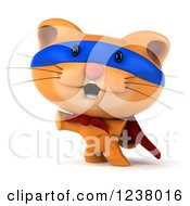 Clipart Of A 3d Super Hero Ginger Cat Pointing Royalty Free Illustration