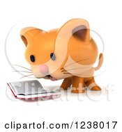 Clipart Of A 3d Ginger Cat Reading A Book 2 Royalty Free Illustration