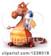 Clipart Of A 3d Red Dragon Juggling With A Toothbrush Presenting Royalty Free Illustration