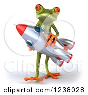 Clipart Of A 3d Green Springer Frog Carrying A Rocket Royalty Free Illustration