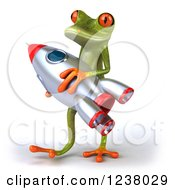 Clipart Of A 3d Green Springer Frog Carrying A Rocket 2 Royalty Free Illustration