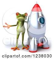 Clipart Of A 3d Green Springer Frog Presenting By A Rocket Royalty Free Illustration