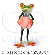 Clipart Of A 3d Bespectacled Green Business Springer Frog Standing With A Piggy Bank Royalty Free Illustration