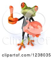 Clipart Of A 3d Bespectacled Green Business Springer Frog With A Piggy Bank And Thumb Up Royalty Free Illustration