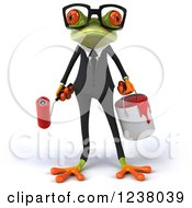 Clipart Of A 3d Green Business Springer Frog With A Paint Can And Roller Brush Royalty Free Illustration by Julos