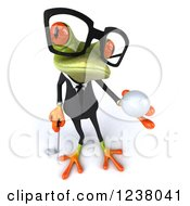Clipart Of A 3d Green Business Springer Frog Golfer Holding A Ball Royalty Free Illustration by Julos