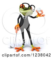 Clipart Of A 3d Green Business Springer Frog Golfer Holding A Ball 2 Royalty Free Illustration by Julos