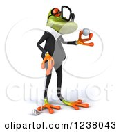 Clipart Of A 3d Green Business Springer Frog Golfer Holding A Ball 3 Royalty Free Illustration by Julos