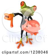 Clipart Of A 3d Bespectacled Green Business Springer Frog With A Piggy Bank And Thumb Down Royalty Free Illustration