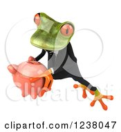 Clipart Of A 3d Green Business Springer Frog Leaping With A Piggy Bank 2 Royalty Free Illustration