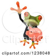 Clipart Of A 3d Green Business Springer Frog Leaping With A Piggy Bank Royalty Free Illustration