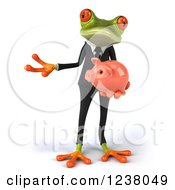 Clipart Of A 3d Bespectacled Green Business Springer Frog Presenting With A Piggy Bank Royalty Free Illustration
