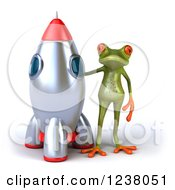 Clipart Of A 3d Green Springer Frog Standing By A Rocket Royalty Free Illustration