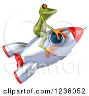 Clipart Of A 3d Green Springer Frog Riding A Rocket Royalty Free Illustration