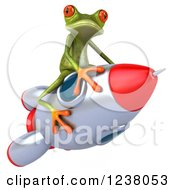 Clipart Of A 3d Green Springer Frog Riding A Rocket 2 Royalty Free Illustration