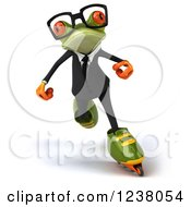 Clipart Of A 3d Green Business Springer Frog Roller Blading Royalty Free Illustration