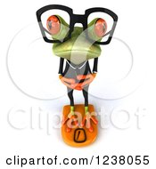 Clipart Of A 3d Green Business Springer Frog Standing On A Scale Royalty Free Illustration by Julos