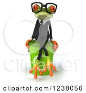 3d Green Business Springer Frog Sitting On A Recycle Bin