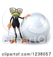 3d Green Business Springer Frog Golfer With A Giant Ball