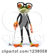 Clipart Of A 3d Green Business Springer Frog Golfer Royalty Free Illustration by Julos