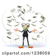 Clipart Of A 3d Bespectacled Green Business Springer Frog Making It Rain Money Royalty Free Illustration