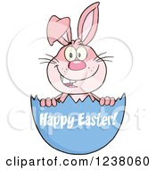 Clipart Of A Pink Rabbit In An Egg Shell With Happy Easter Text Royalty Free Vector Illustration