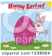 Clipart Of A Pink Rabbit With Happy Easter Text And And Pink Egg Royalty Free Vector Illustration
