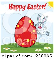Clipart Of A Blue Rabbit With Happy Easter Text And A Red Egg Royalty Free Vector Illustration by Hit Toon