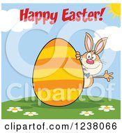 Clipart Of A Brown Rabbit With Happy Easter Text And An Orange Striped Egg Royalty Free Vector Illustration by Hit Toon