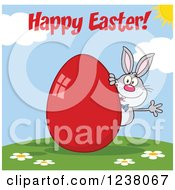 Clipart Of A Gray Rabbit With Happy Easter Text And A Red Egg Royalty Free Vector Illustration