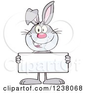 Clipart Of A Gray Rabbit Holding A Sign Royalty Free Vector Illustration by Hit Toon