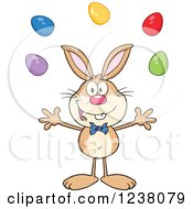 Clipart Of A Brown Rabbit Juggling Easter Eggs Royalty Free Vector Illustration