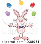 Clipart Of A Pink Rabbit Juggling Easter Eggs Royalty Free Vector Illustration